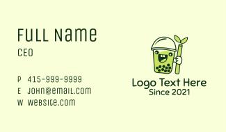 Matcha Milk Tea Mascot Business Card