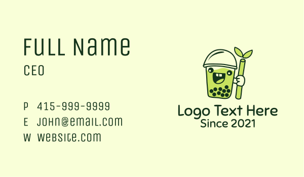 boba tea - Matcha Milk Tea Mascot Business card horizontal design