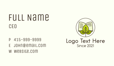 Leaf Nature Book Business Card
