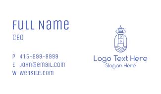 Blue Monoline Lighthouse Business Card