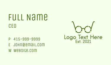 Green Recycle Glasses  Business Card