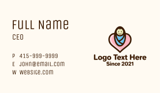Heart Baby Swaddle Business Card
