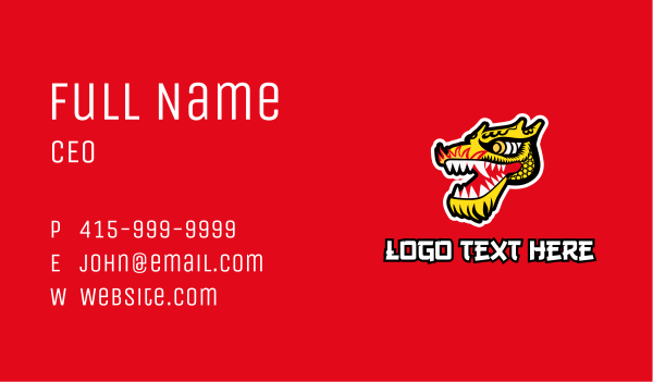 mythical - Chinese Dragon Head Business card horizontal design