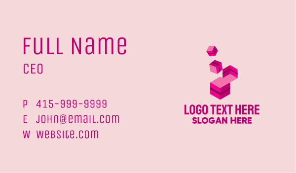 toy store - Isometric Building Block Business card horizontal design