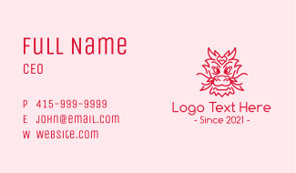 Red Heart Dragon Business Card