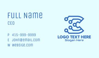 Tech Circuit Letter C Business Card