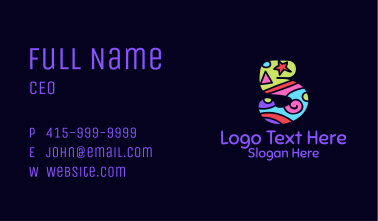 Colorful Shapes Number 5 Business Card