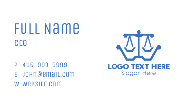 Blue Polygon Lawyer Scales Business Card