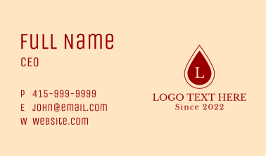 Blood Donating Letter Business Card