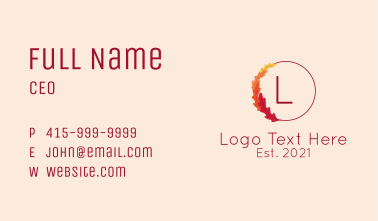 Autumn Leaves Wreath Letter Business Card