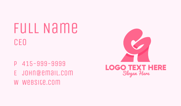 funky - Pink Girly Letter A Business card horizontal design