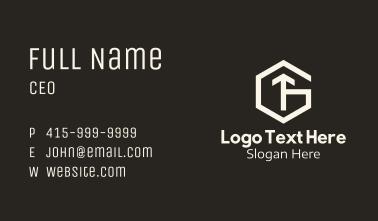 White Hexagon Letter G & T Business Card