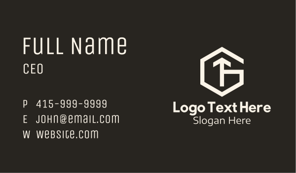 traffic - White Hexagon Letter G & T Business card horizontal design