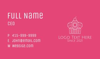 White Cherry Cupcake  Business Card