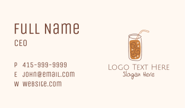 Brown Iced Drink Line Art Business Card