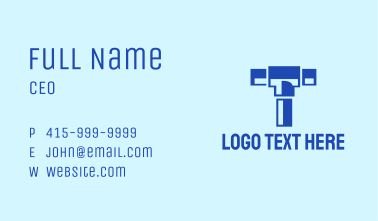 Blue Piping Letter T Business Card