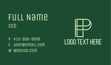 Linear Letter P Business Card