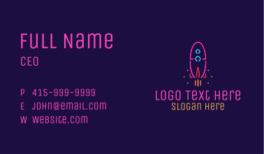 Neon Space Rocket Business Card