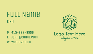 Green Outdoor Nature  Business Card