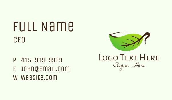 hot tea - Organic Herbal Cup Business card horizontal design