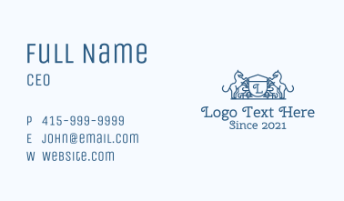 Royal Horse Crest Lettermark Business Card