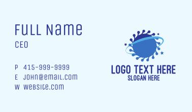 Blue Virus Planet Business Card