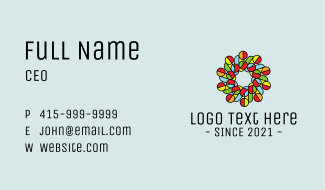 Circle Flower Stained Glass Business Card