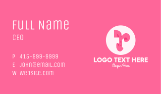 Pink Fashion Letter R Business Card