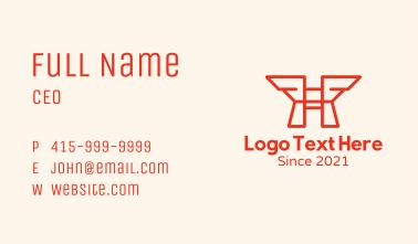 Orange Wings Letter H Business Card