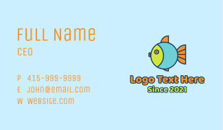 Colorful Round Fish  Business Card