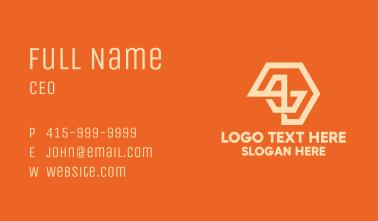 Orange Abstract Hexagon Business Card