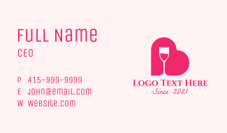 Heart Wine Glass Business Card
