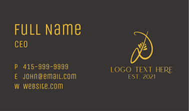 Golden Calligraphy letter D  Business Card
