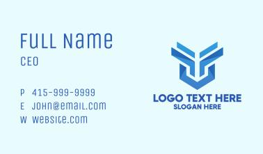Geometric Tech Shield Business Card