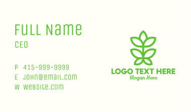 Green Plant Bud Monoline Business Card