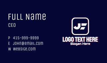 Glitchy Letter J Tech Business Card