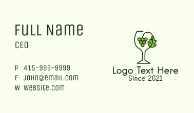 Grape Leaf Glass Business Card