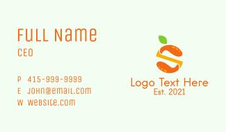 Orange Juice Letter S Business Card