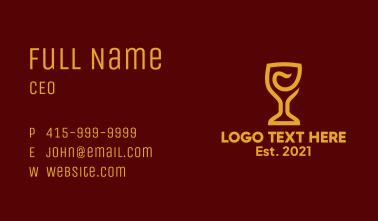 Golden Wine Goblet Business Card