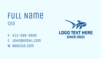 Blue Marine Shark Business Card