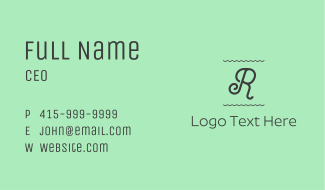 Curly Letter R Business Card