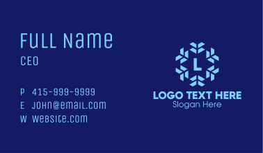Blue Winter Snowflake Letter Business Card