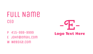 Curly Pink E Business Card