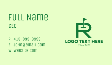 Green Golf Course Letter R Business Card