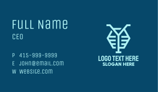 Blue Letter Y Hexagon Business Card
