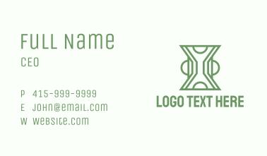 Green Line Art Hourglass  Business Card