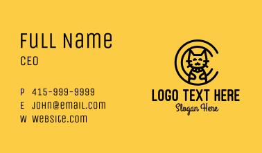 Cat Monoline Letter C Business Card