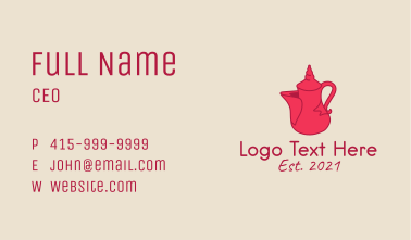 Red Tea Pot  Business Card