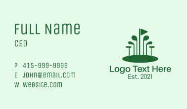Green Golf Course Business Card