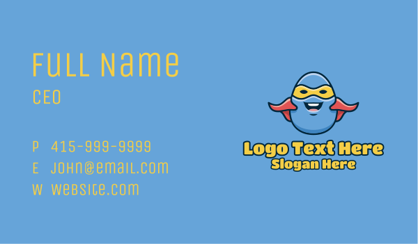 kids party - Cartoon Egg Hero  Business card horizontal design